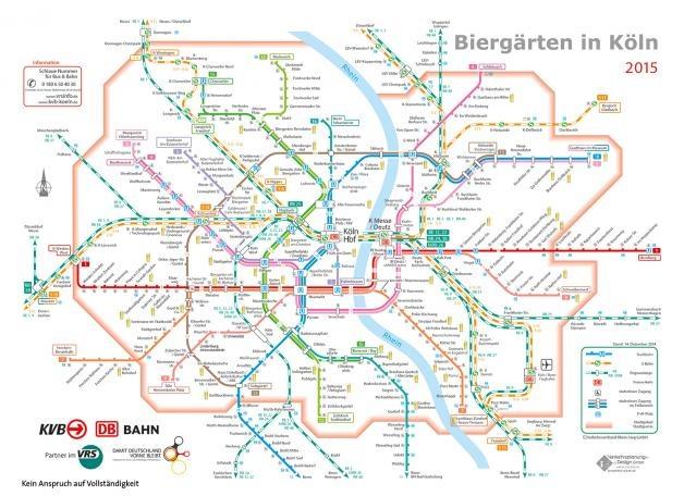Linienplan Biergärten in Köln - Für euch entdeckt: Biergarten-Guide Köln
