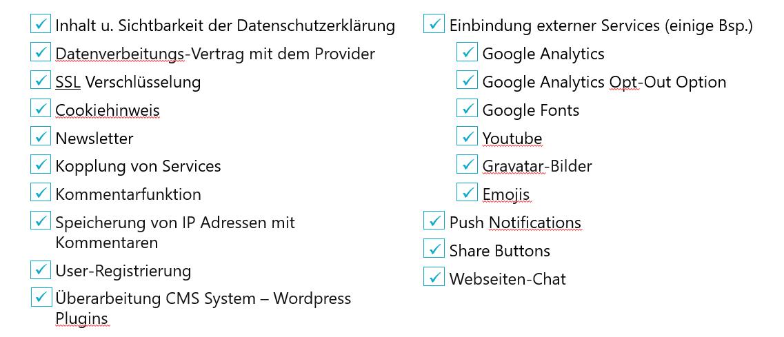Checkliste DSGVO Webseiten - DSGVO Checkliste für Webseiten