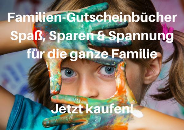 Die Familien Gutscheinbücher – Spaß Sparen und Spannung für die ganze FamilieJetzt kaufen - Familien-Gutscheinbücher München, Berlin, Köln, Ruhrgebiet und Stuttgart