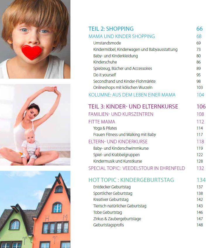 Köln mit Kind – Inhaltsverzeichnis Kurse und Kindergeburtstag